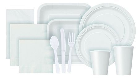 cups, cutlery, and plates